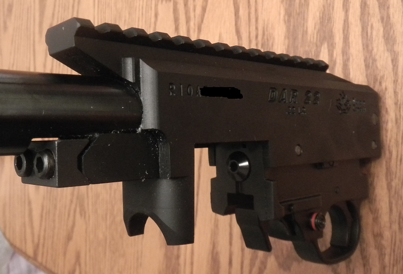 Dlask DAR22 receiver with integral extended picatiny rail